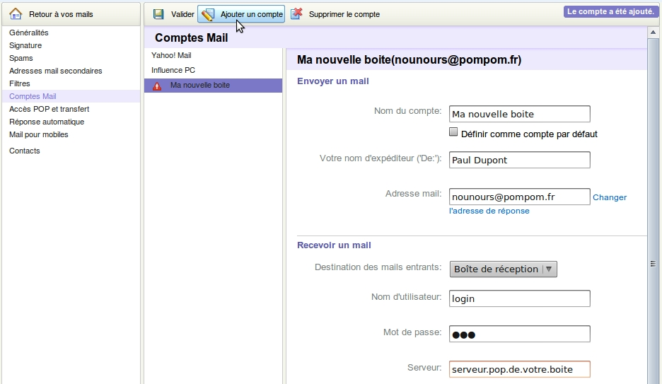 Yahoo! Comptes Mail