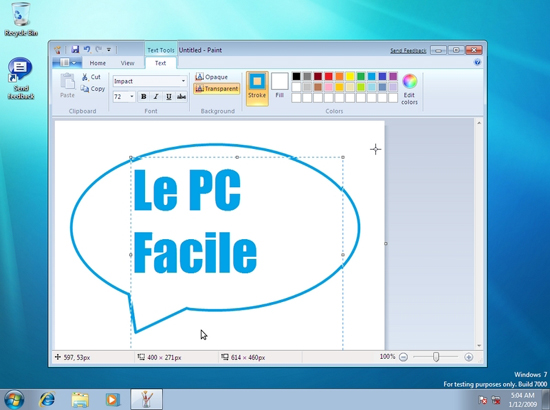 Ms Paint sous Windows Seven